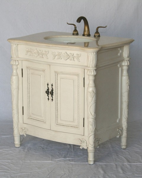 "32"" Adelina Antique Style Single Sink Bathroom Vanity in White Finish with Beige Stone Countertop"