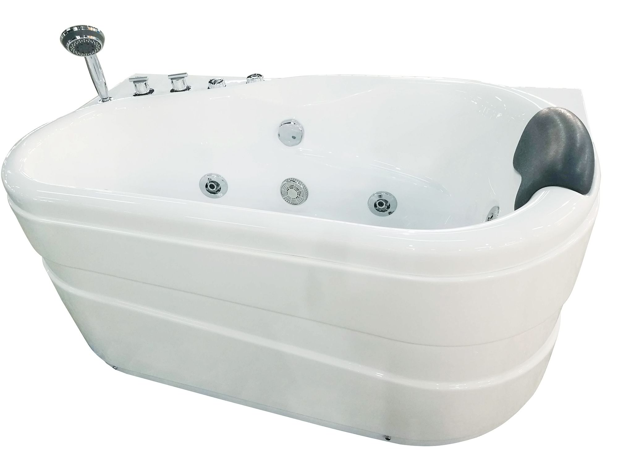 EAGO AM175-L  5'' White Acrylic Corner Whirpool Bathtub - Drain on Left