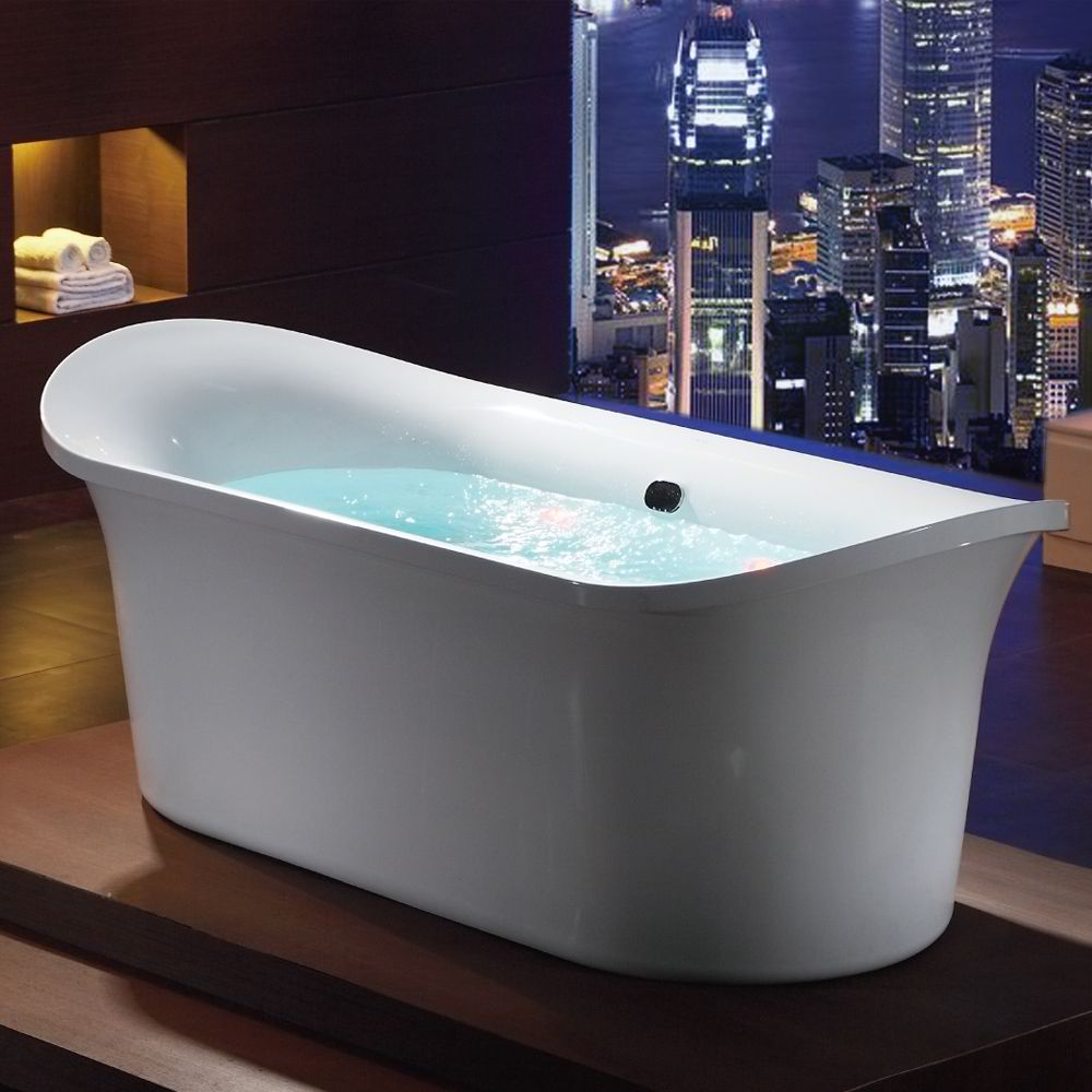 "EAGO AM1900 74"" White Free Standing Air Bubble Bathtub"