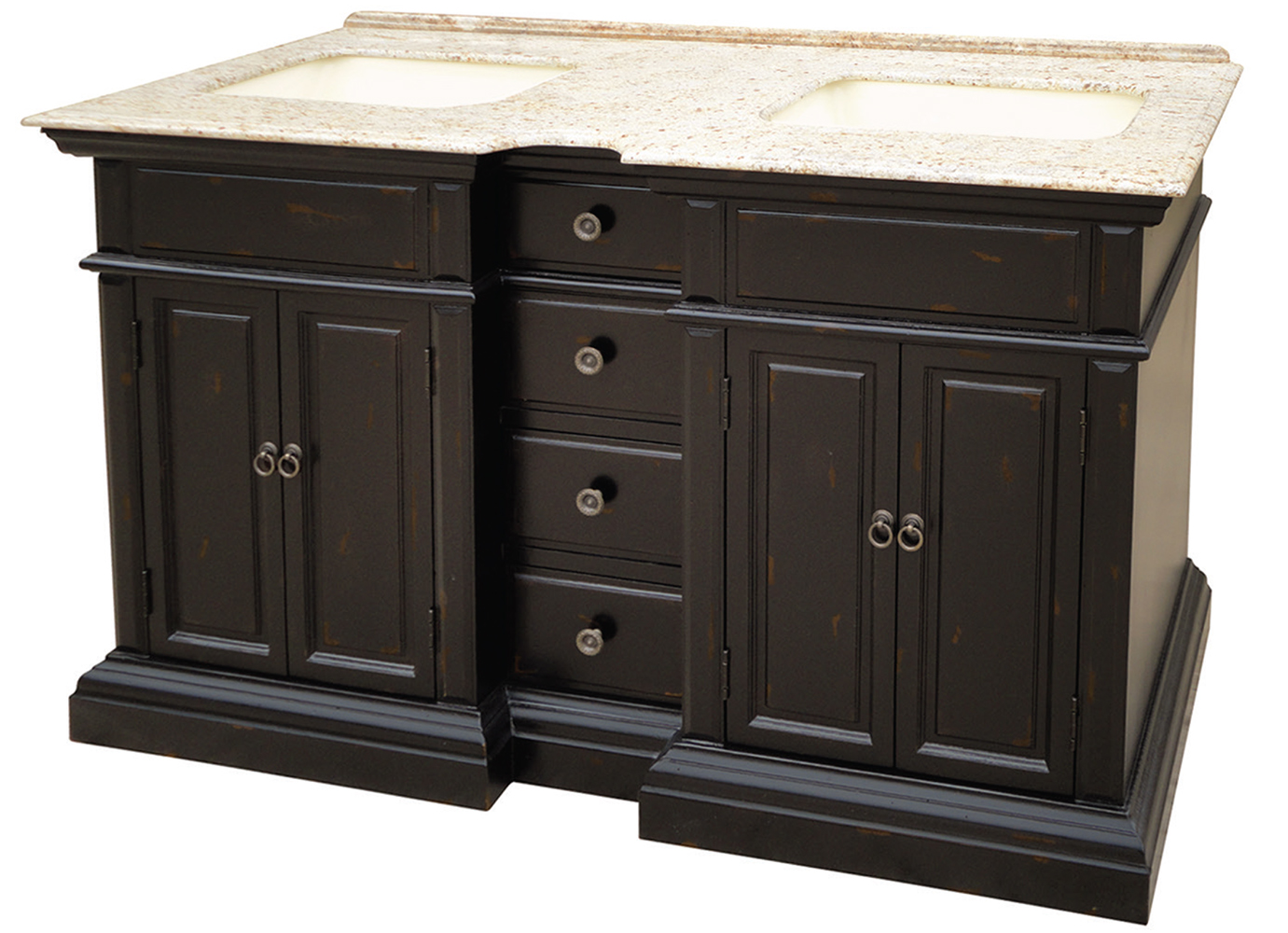 "Asheville 58"" Double Sink Black and White Granite, Distressed Black Finish"
