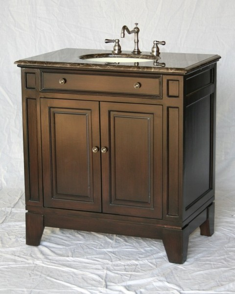 "32"" Adelina Contemporary Style Single Sink Bathroom Vanity in Espresso Finish with Light Brown Stone Countertop"