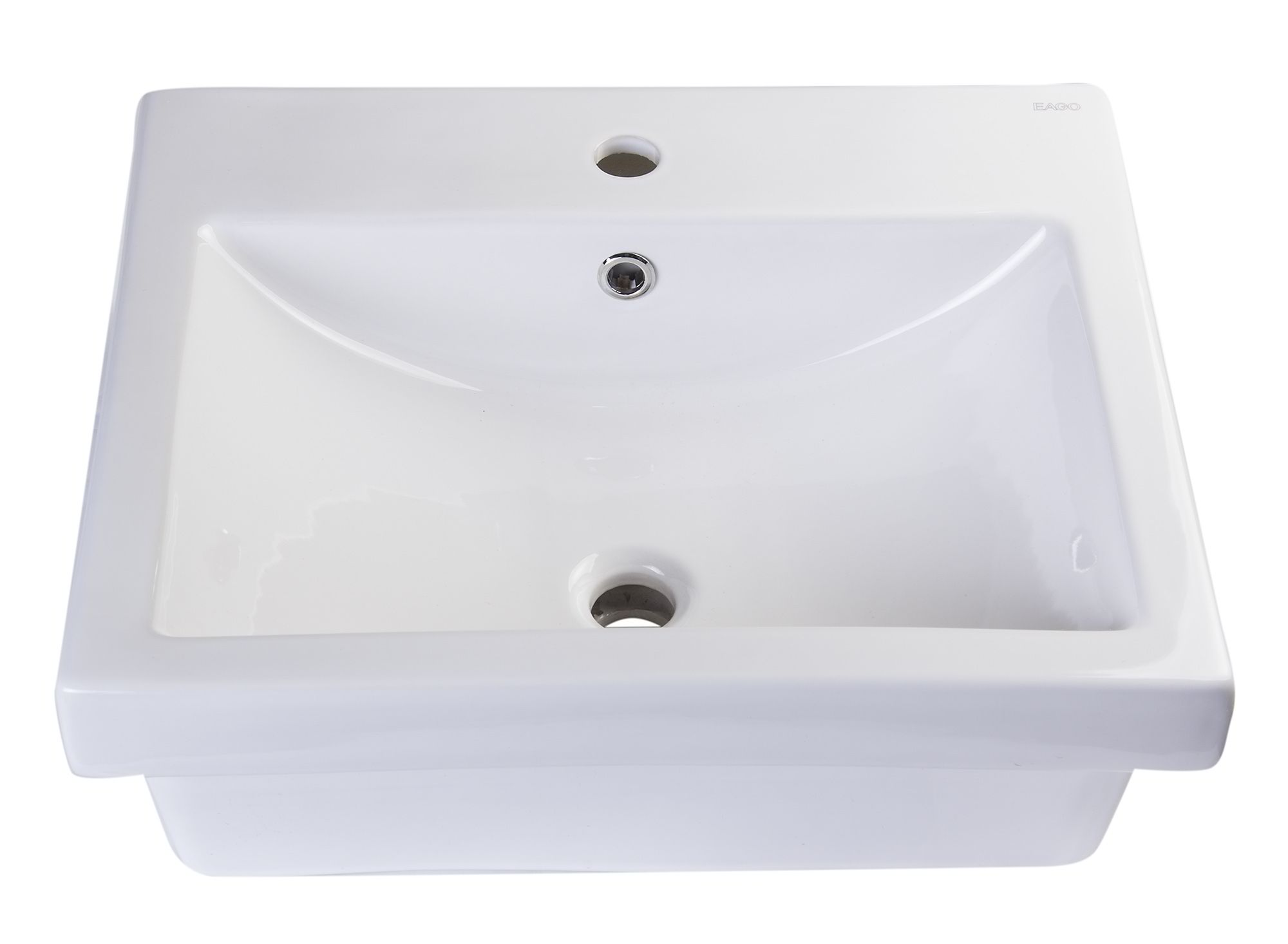 "EAGO BA134 21"" Rectangular Porcelain Bathroom Vessel Sink with Single Hole"