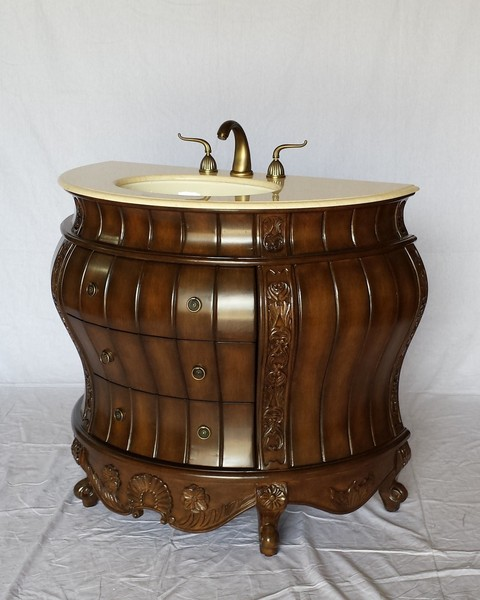 "36"" Adelina Antique Style Semi-circular Shape Single Sink Bathroom Vanity in Walnut Finish with Beige Stone Countertop"