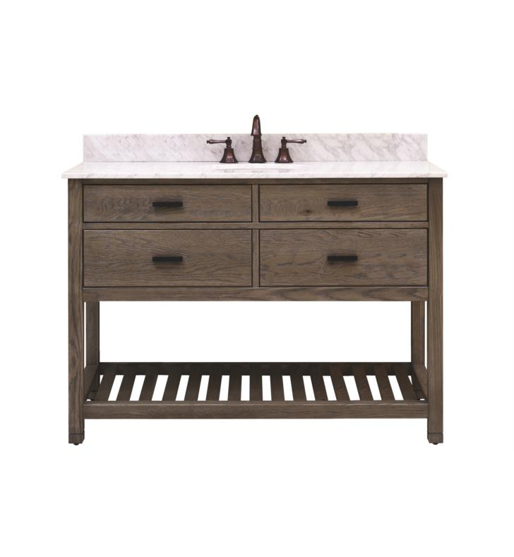 "Issac Edward Collections 48"" Free Standing Single Bathroom Vanity with Open Bottom Shelf in Taupe"