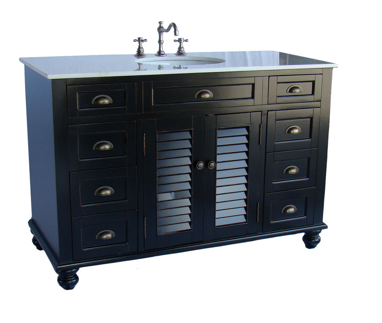 "48"" Cottage Style Single Sink Bathroom Vanity with White Marble Countertop"