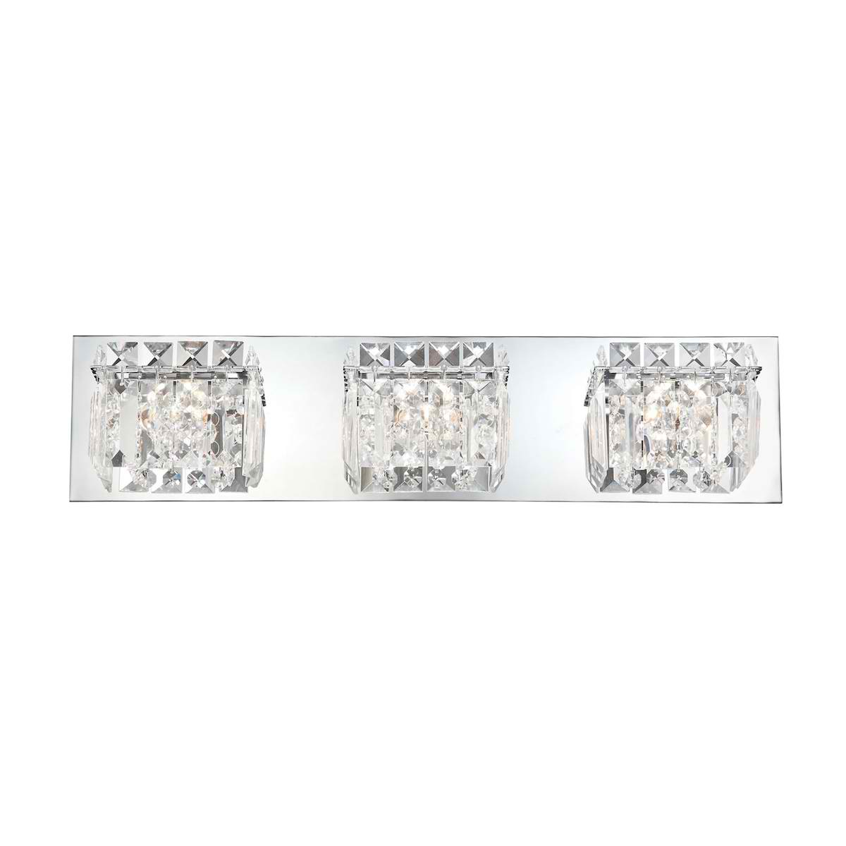 Crown Vanity - 3 Light Clear Crystal glass/ Chrome finish