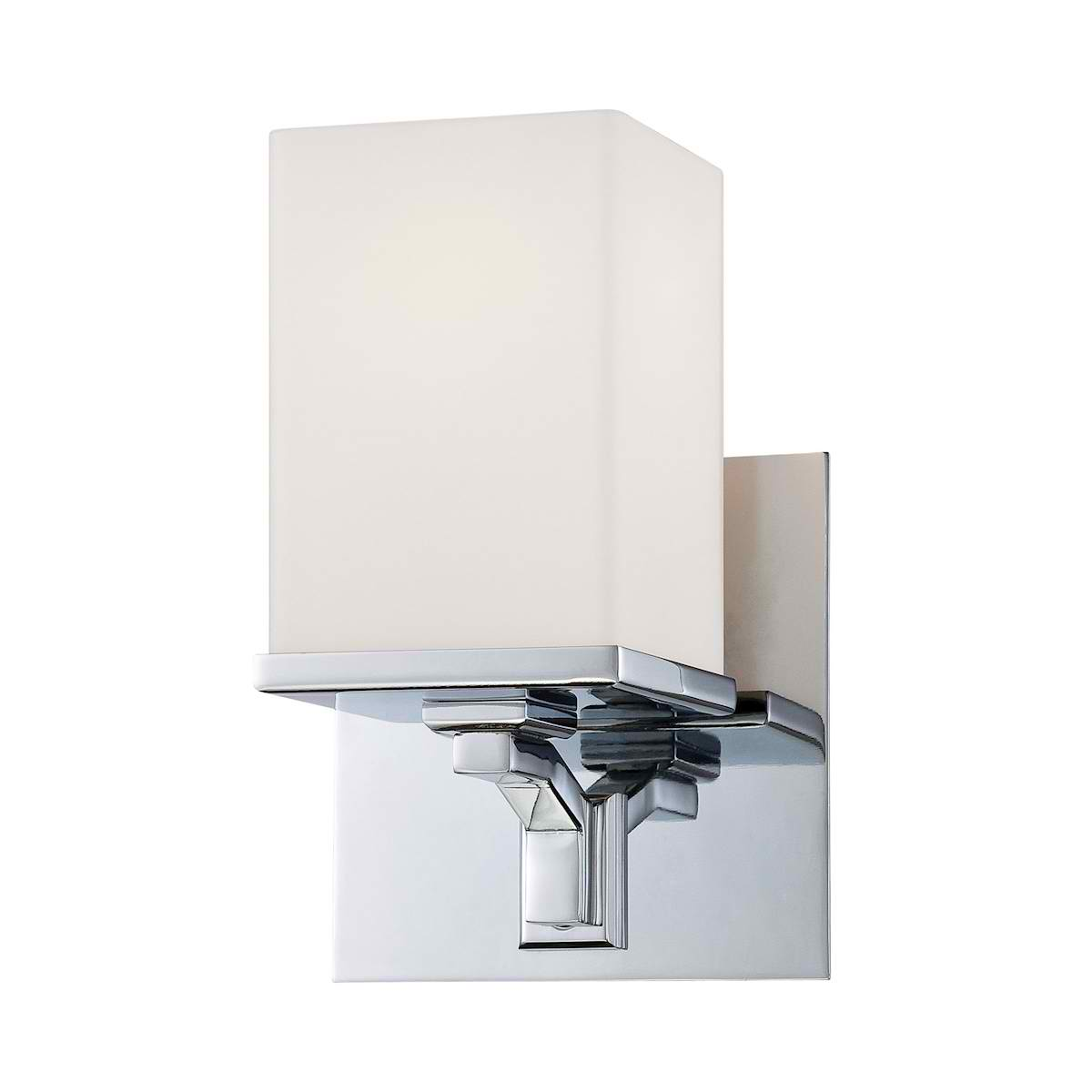 Ramp 1 Lite Vanity Opal Glass/w Chrome Finish