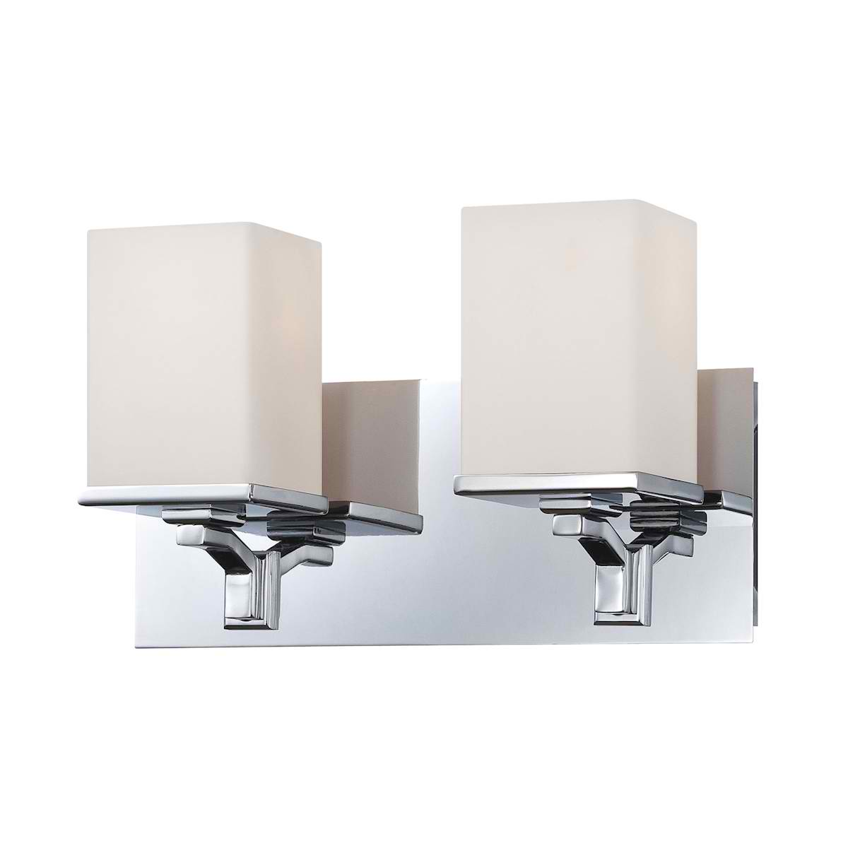 Ramp 2 Lite Vanity Opal Glass/w Chrome Finish