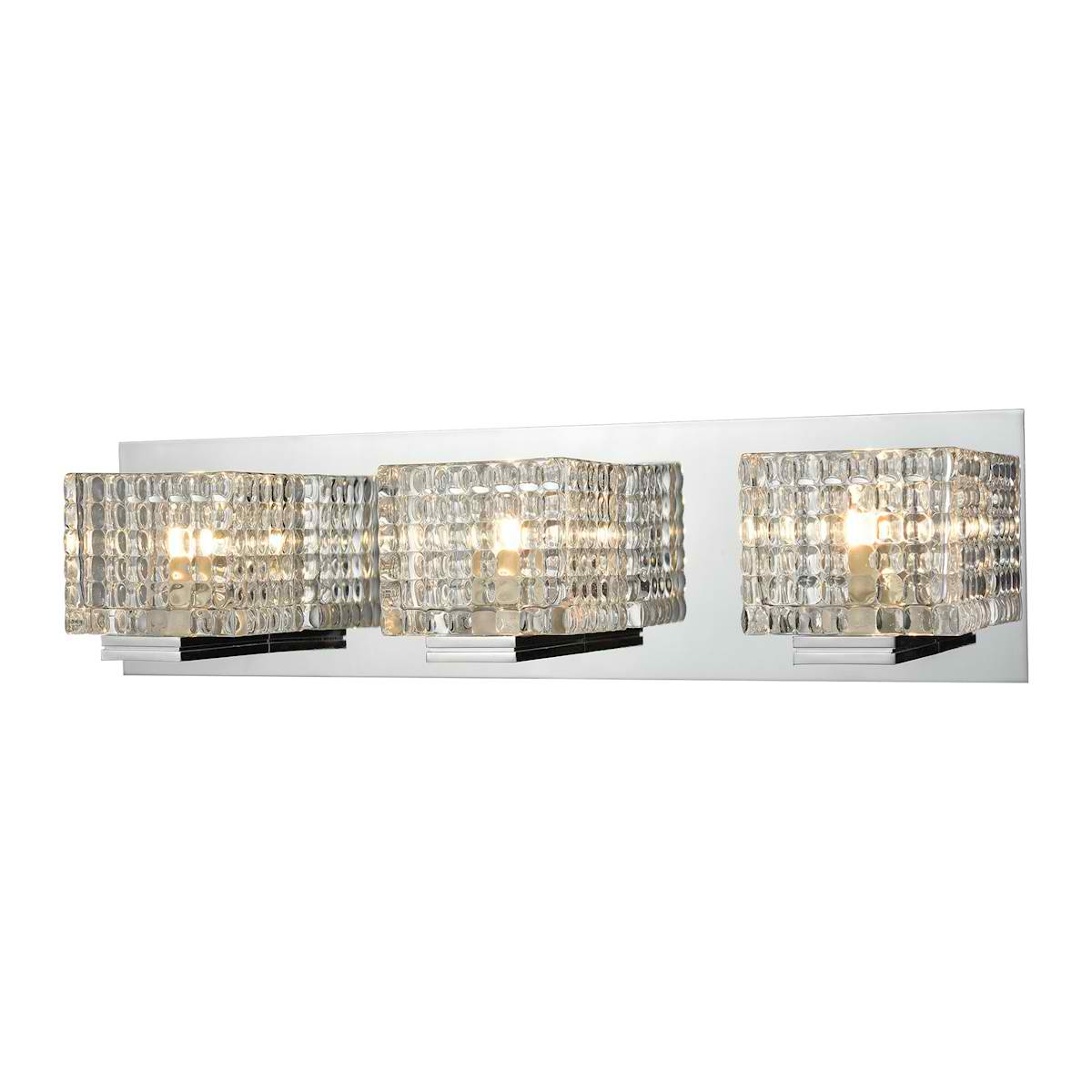 3 Light Vanity in Chrome and Clear Glass