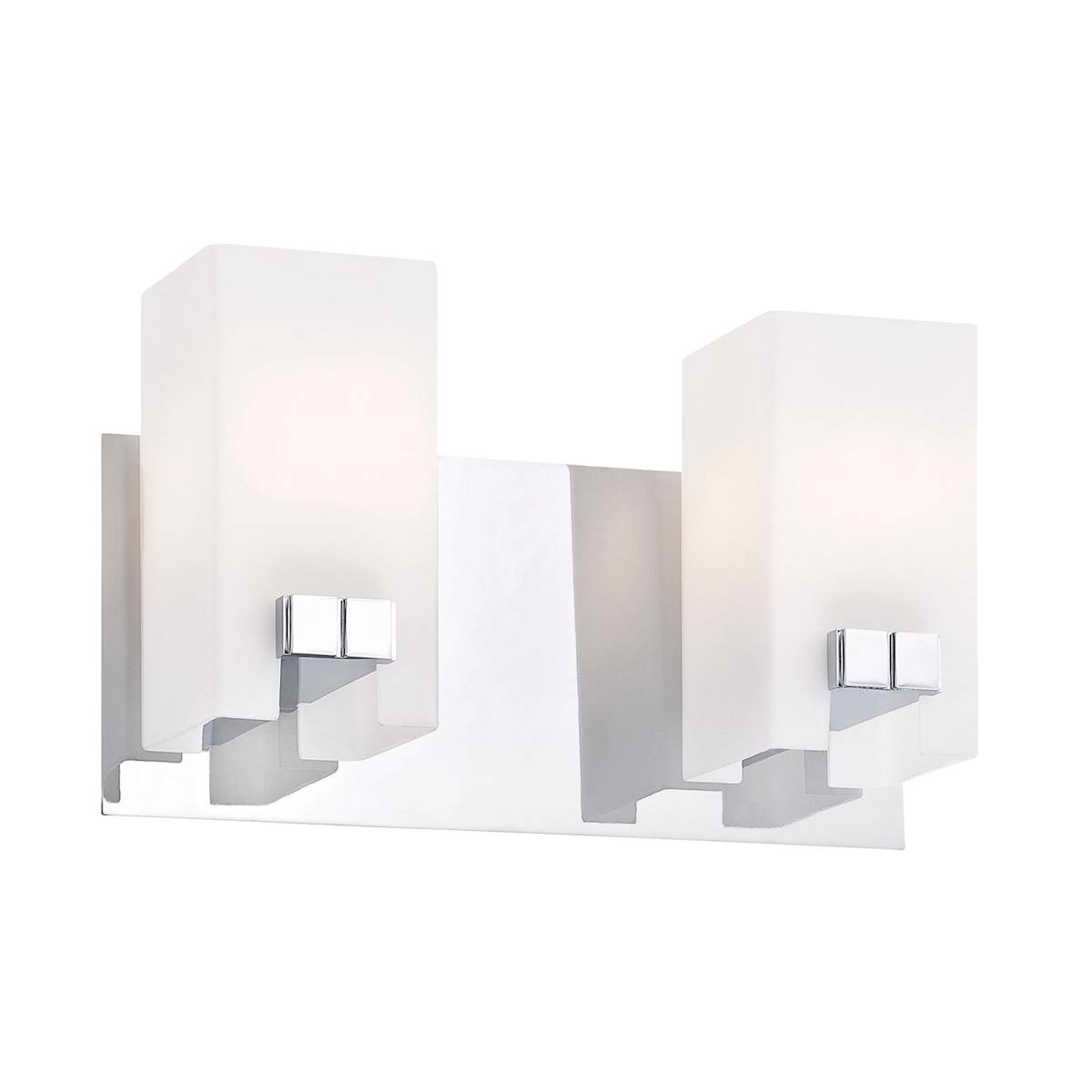 Gemelo Vanity - 2 Light White Opal / Chrome Finish