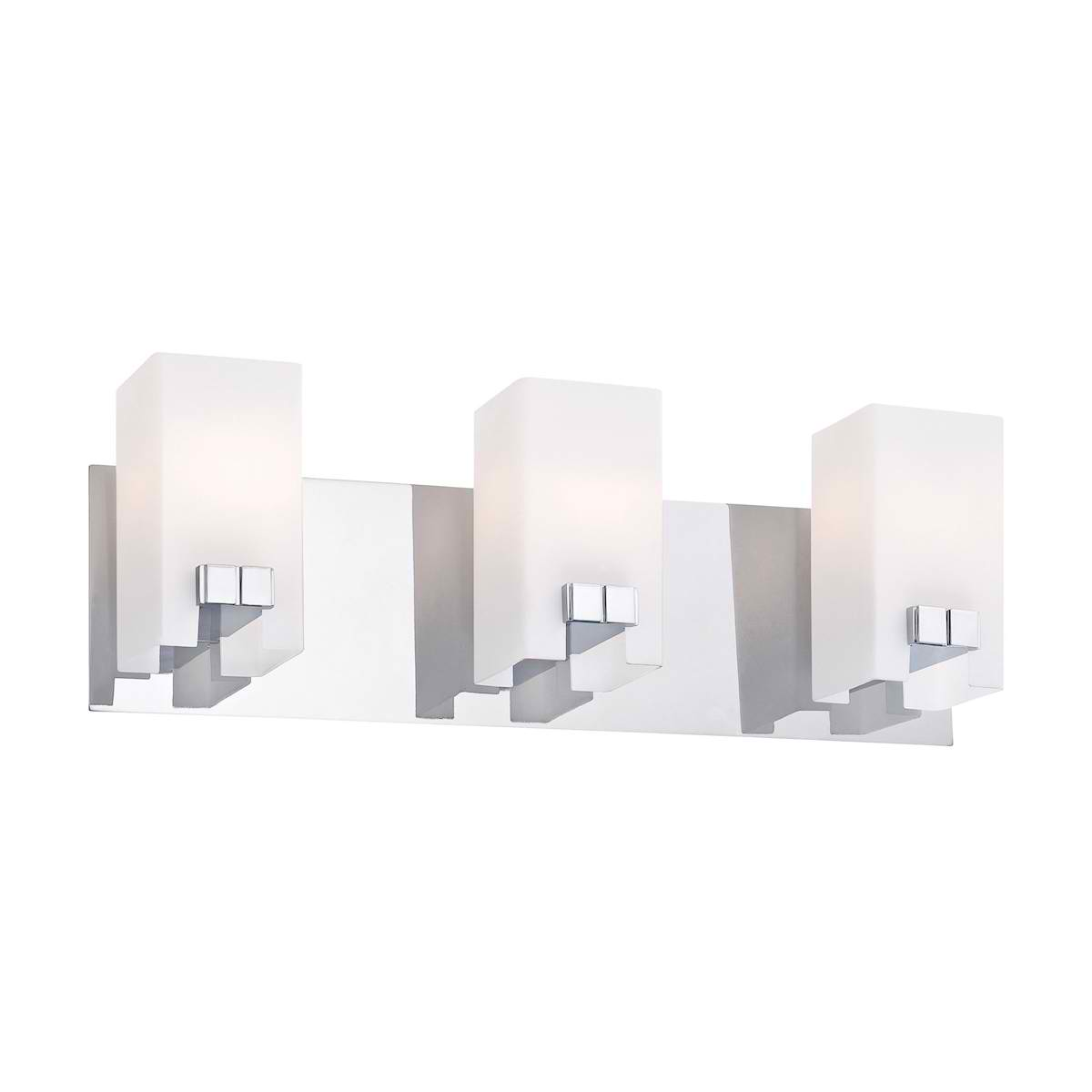 Gemelo Vanity - 3 Light White Opal / Chrome Finish
