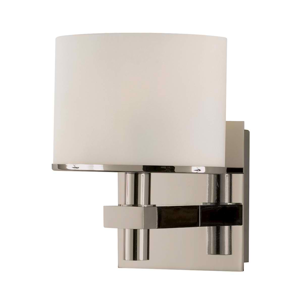 Ombra Vanity - 1 Light with Lamp White Opal Glass / Satin Nickel