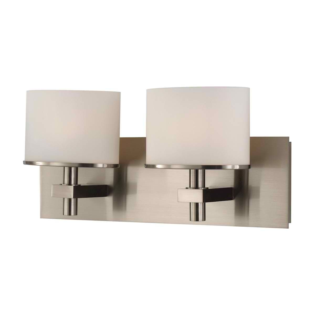 Ombra Vanity - 2 Light with Lamp White Opal Glass / Satin Nickel