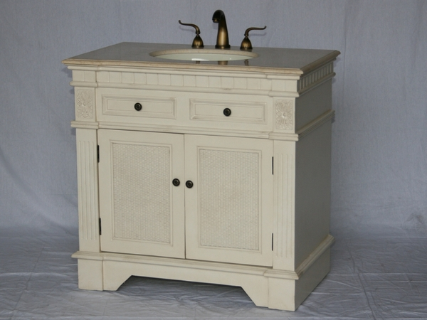 "36"" Adelina Traditional Style Single Sink Bathroom Vanity in Beige Finish with Beige Stone Countertop"