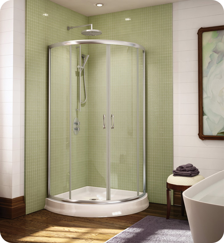 "Fleurco Signature Capri Arc 32"" Frameless Curved Glass Sliding Shower Doors"