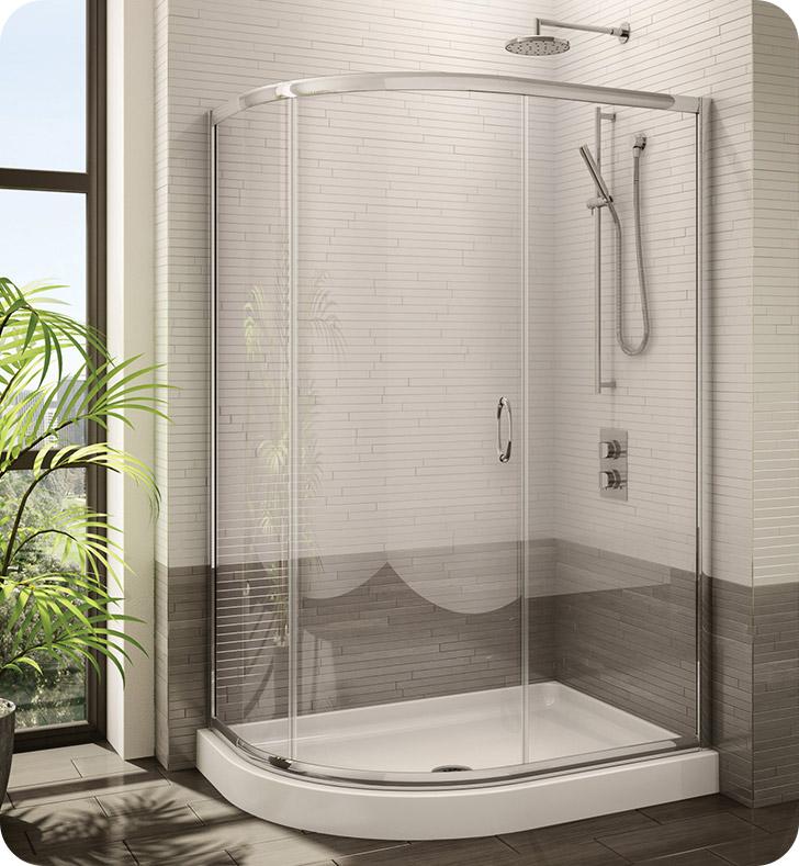 Fleurco Signature Capri Half Round Frameless Curved Glass Sliding Shower Door