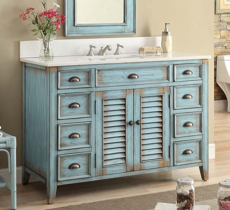 "46"" Distressed Blue Single Bathroom Vanity with White Marble Counter Top"