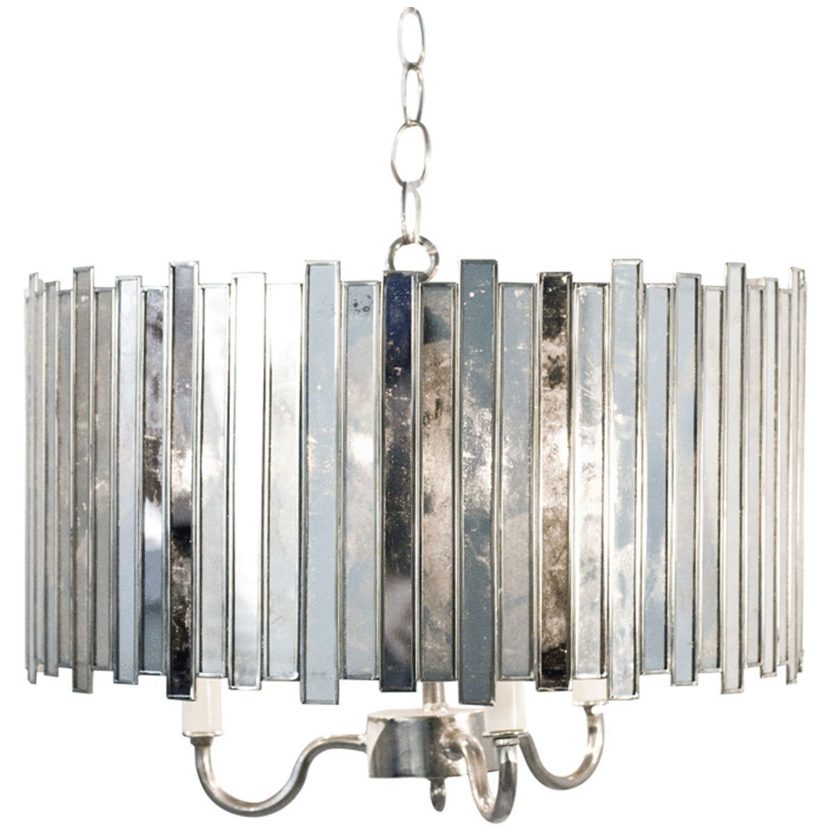 Antique Mirror Faceted Chandelier with 3 Lights