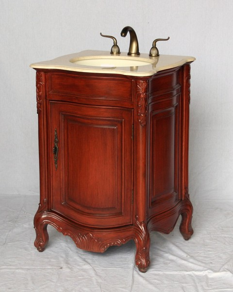 "24"" Adelina Antique Style Single Sink Bathroom Vanity in Cherry Finish with Light Brown Stone Top"