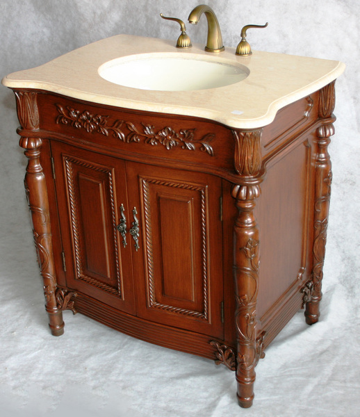 "32"" Adelina Antique Style Single Sink Bathroom Vanity in Cherry Finish with Beige Stone Countertop and Oval Bone Porcelain Sink"