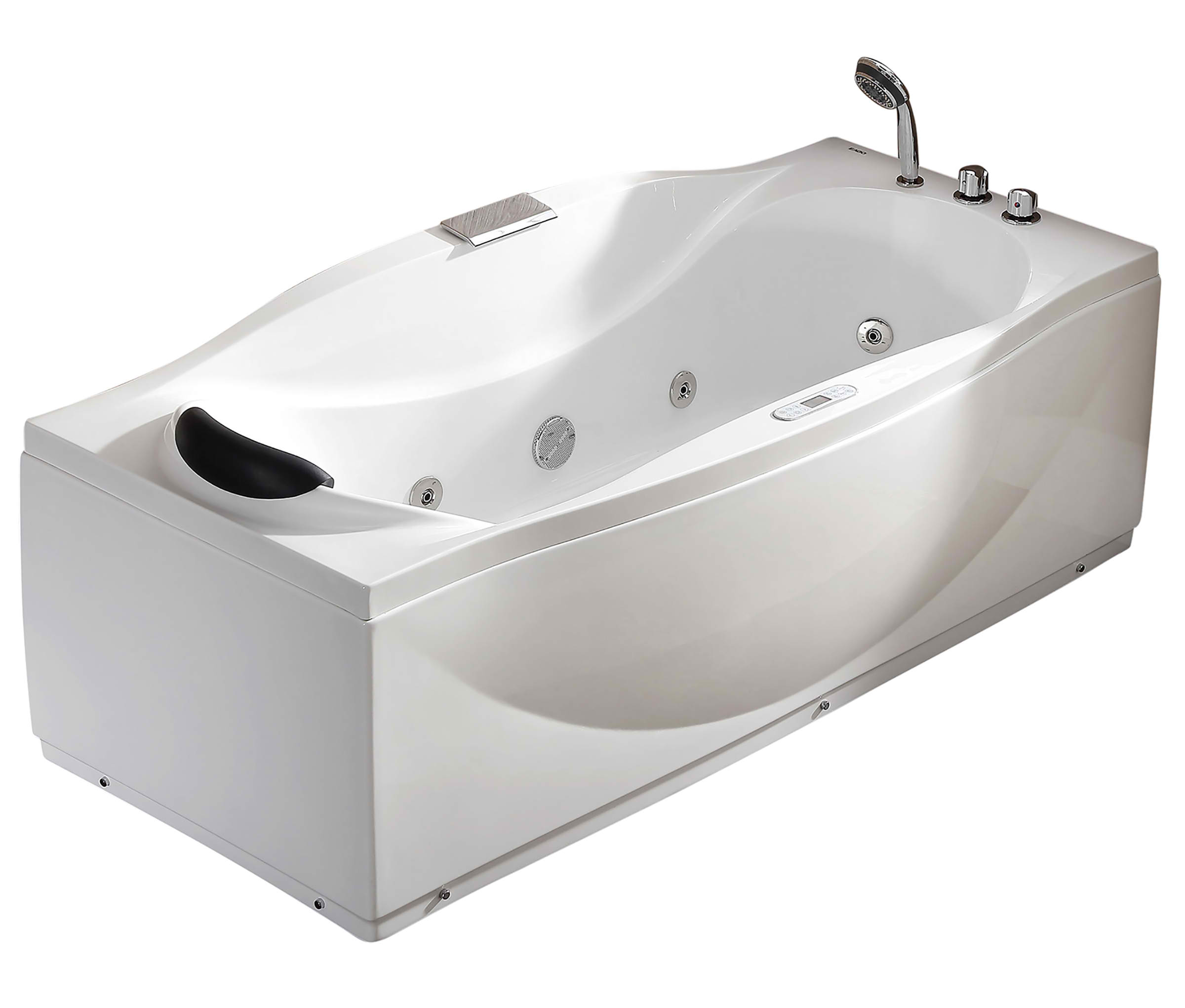 EAGO AM189ETL 6 ft Left or Right Drain Acrylic White Whirlpool Bathtub w Fixtures