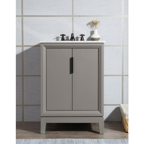 "Elizabeth 24"" Single Sink Carrara White Marble Vanity In Cashmere Grey"