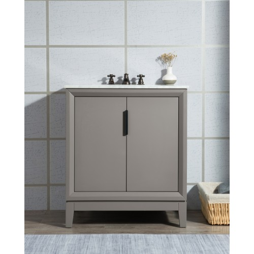 "30"" Single Sink Carrara White Marble Vanity In Cashmere Grey"