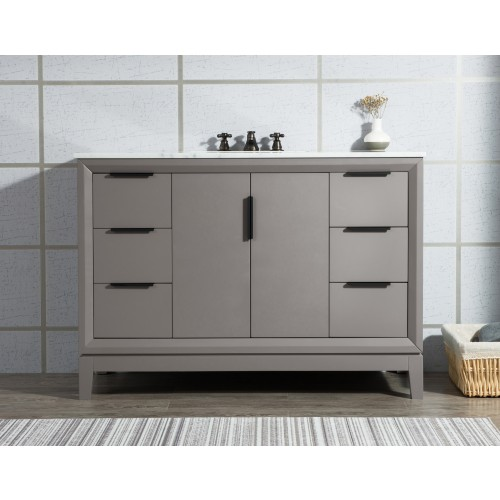 "48"" Single Sink Carrara White Marble Vanity In Cashmere Grey"