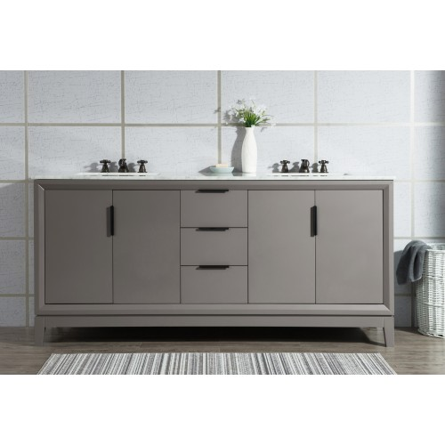 "Elizabeth 72"" Double Sink Carrara White Marble Vanity In Cashmere Grey"