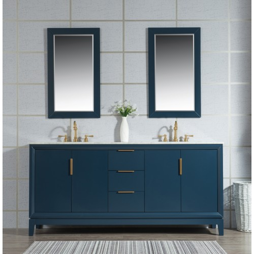 "Elizabeth 72"" Double Sink Carrara White Marble Vanity In Monarch Blue"