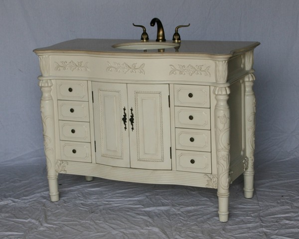 "48"" Adelina Antique Style Single Sink Bathroom Vanity in Antique White Finish with Beige Stone Countertop and Oval Bone Porcelain Sink"
