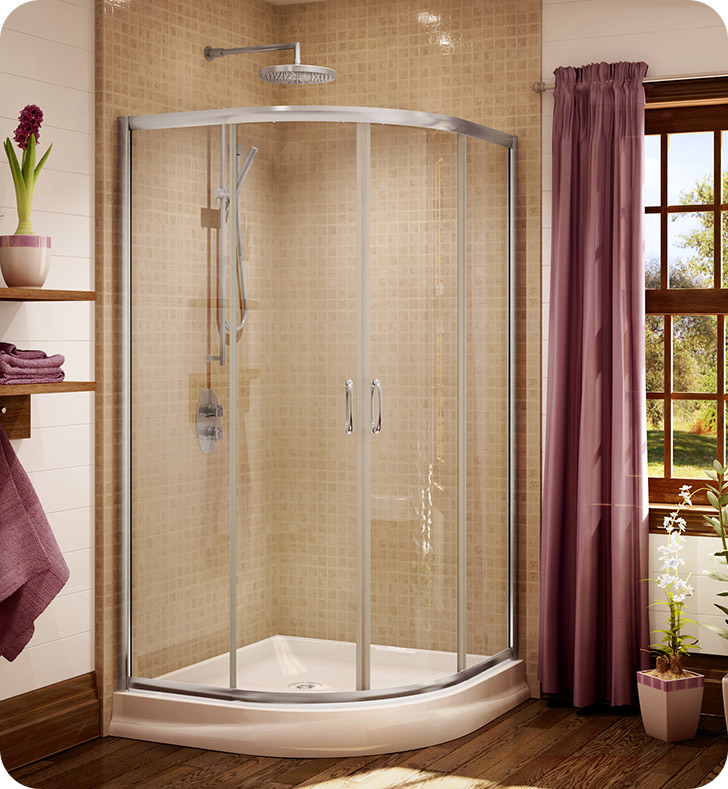 "Fleurco Signature Capri Round 4 Frameless Curved Glass 40"" Sliding Shower Doors"