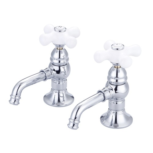 Vintage Classic Basin Cocks Lavatory Faucets in Chrome Finish With Handles and Labels Options