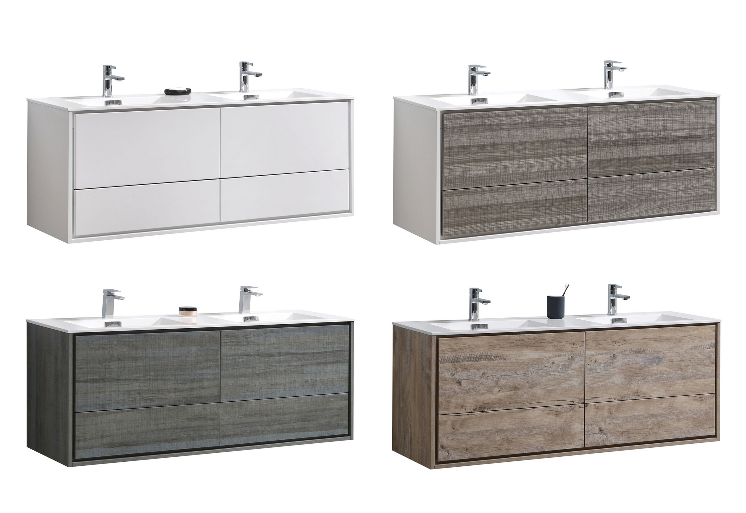 "Modern Lux 60"" Double Sink Wall Mount Modern Bathroom Vanity with Color Options"