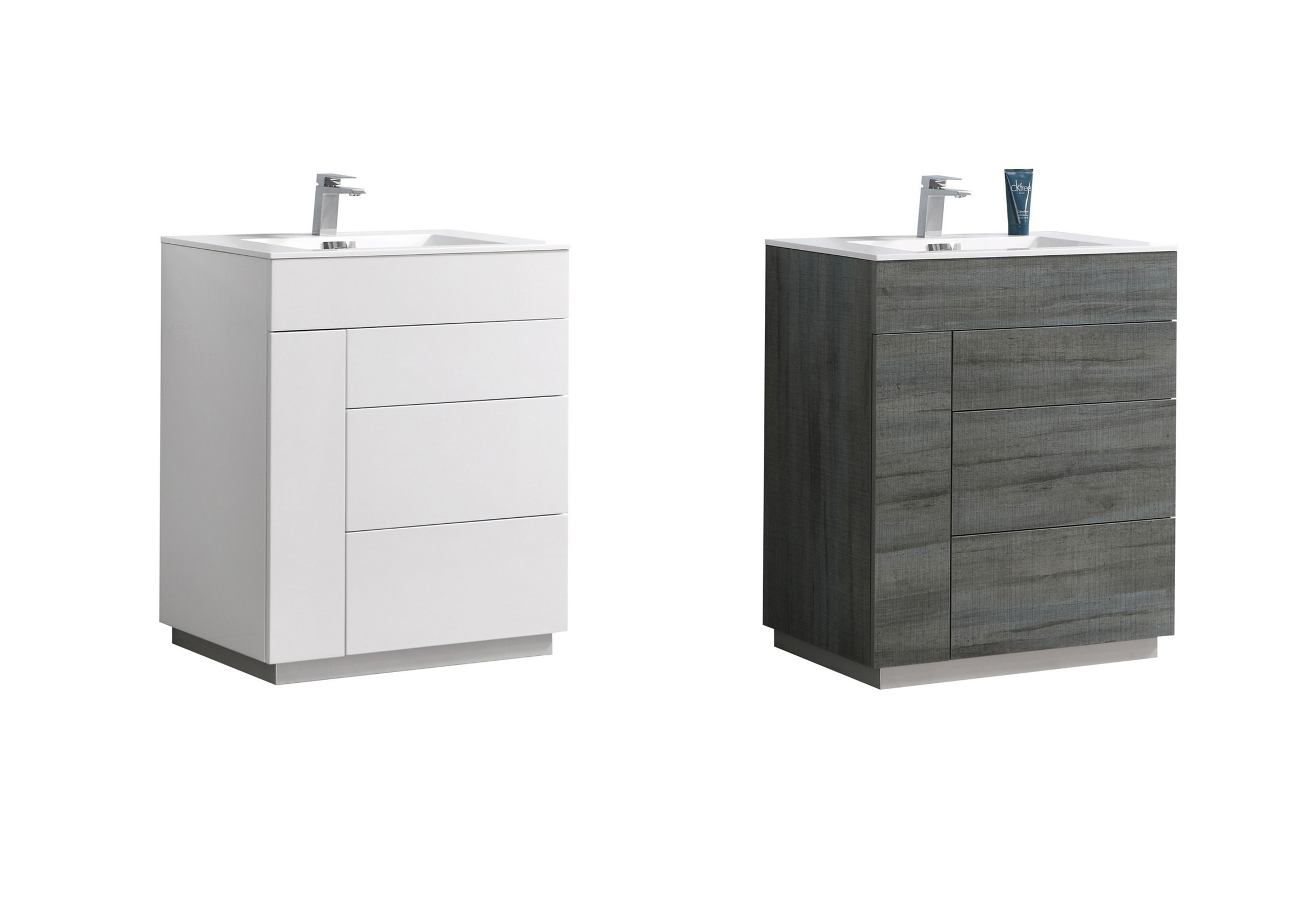 "Modern Lux 30"" Gloss White and Ocean Gray Wall Mount Modern Bathroom Vanity"