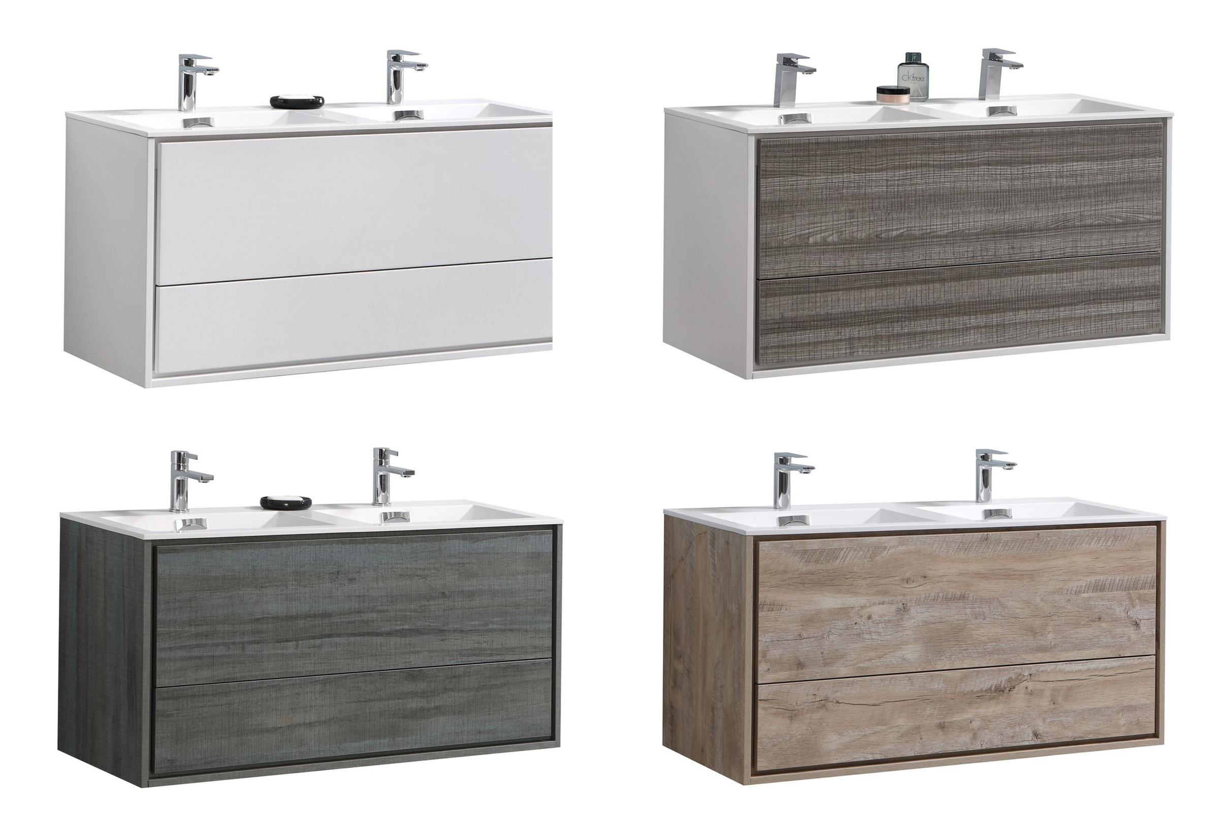 "Modern Lux 48"" Double Sink Wall Mount Modern Bathroom Vanity with Color Options"