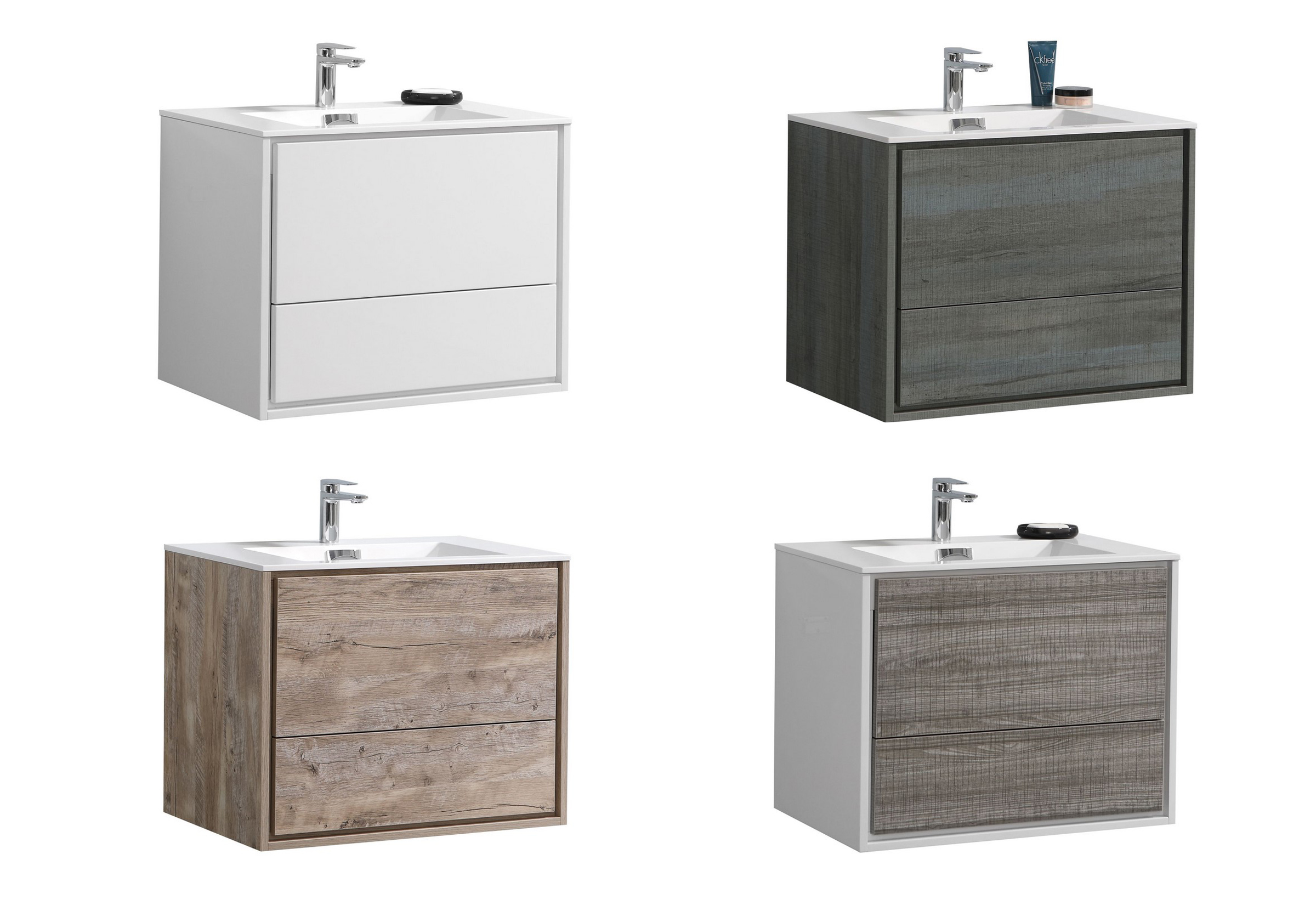 "Modern Lux 30"" Wall Mount Modern Bathroom Vanity w/ Color Options"