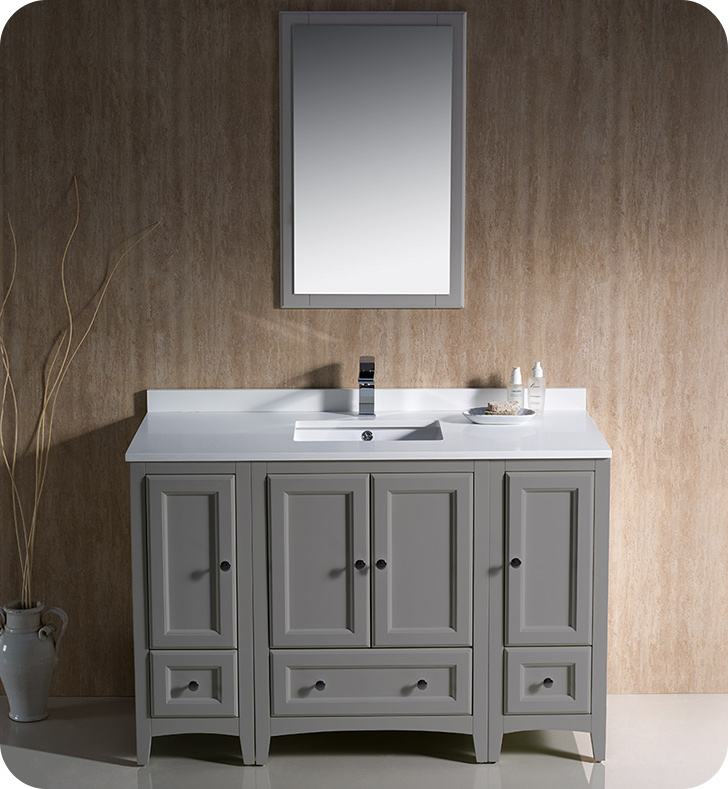 "Fresca Oxford Collection 48"" Traditional Bathroom Vanity with Color, Faucet, Top, Sink and Linen Cabinet Option"