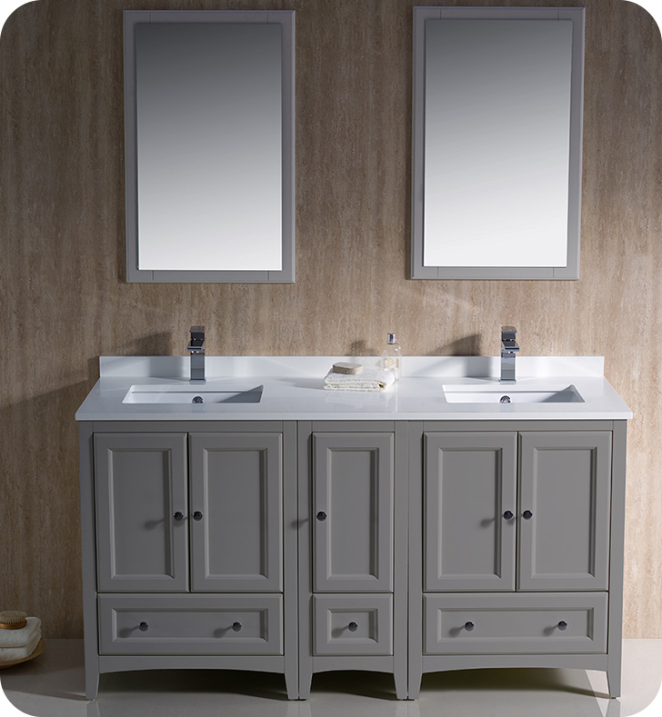 "60"" Grey Traditional Double Sink Bathroom Vanity with Top, Sink, Faucet and Linen Cabinet"