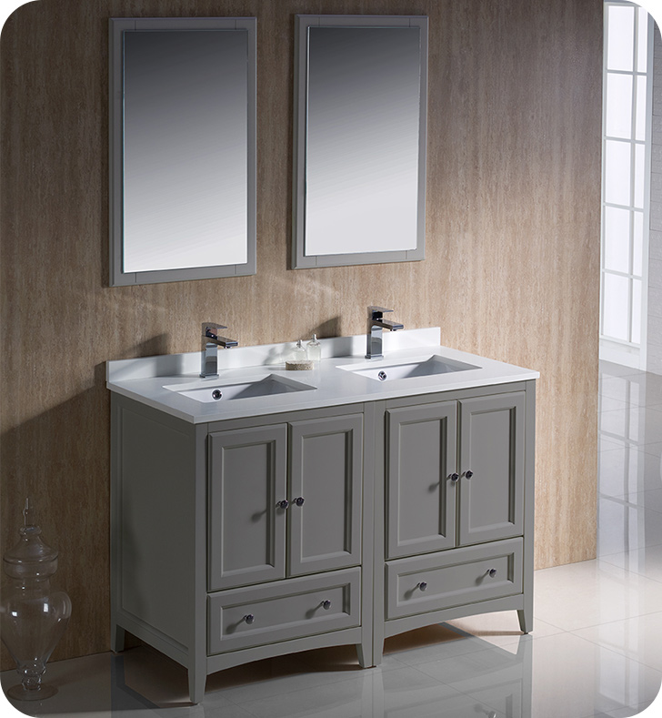 "Fresca Oxford Collection 48"" Grey Traditional Double Sink Bathroom Vanity with Top, Sink, Faucet and Linen Cabinet Option"