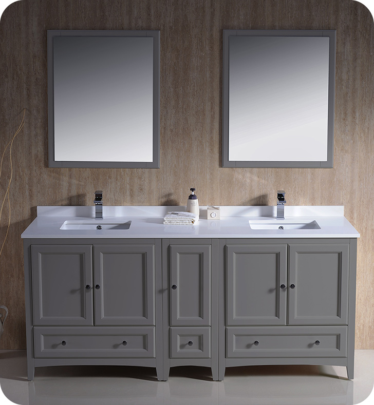 "Fresca Oxford Collection 72"" Grey Traditional Double Bathroom Vanity with Top, Sink, Faucet and Linen Cabinet Option"