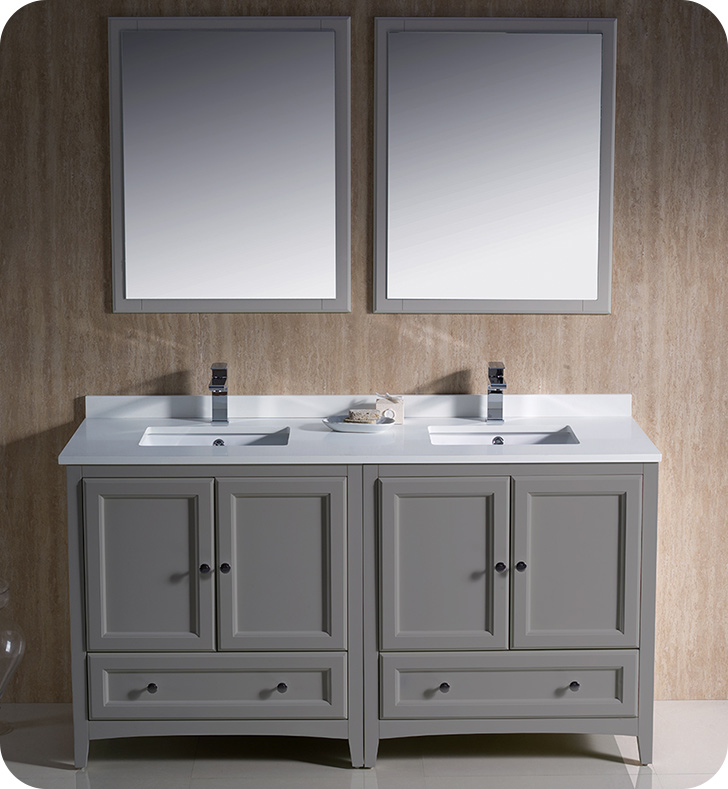 "Fresca Oxford Collection 60"" Grey Traditional Double Bathroom Vanity with Top, Sink, Faucet and Linen Cabinet Option"