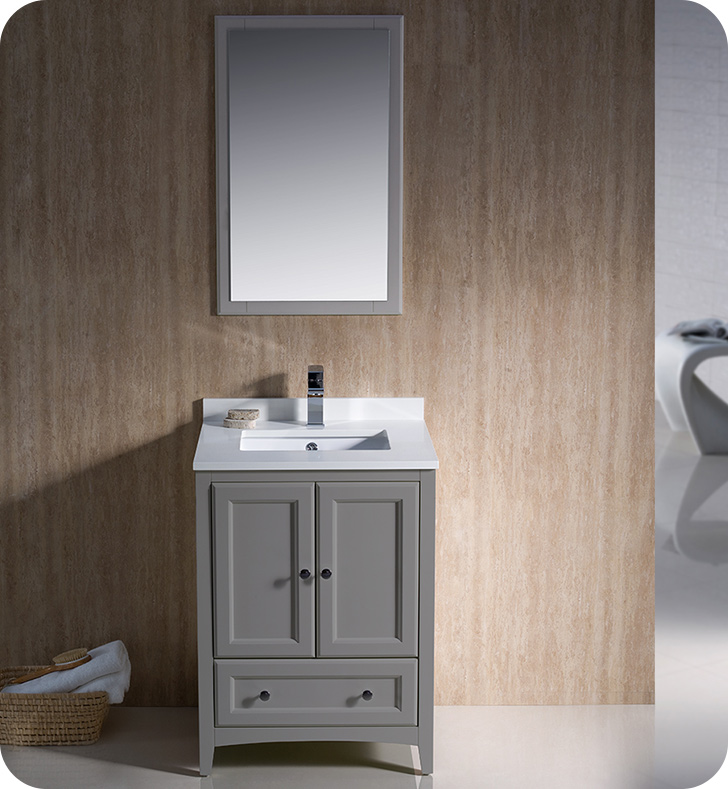"24"" Grey Traditional Single Bathroom Vanity with Top, Sink, Faucet and Linen Cabinet Option"