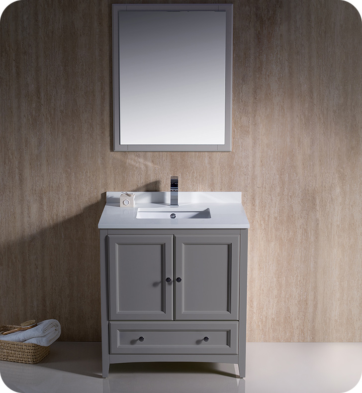 "Fresca Oxford Collection 30"" Grey Traditional Bathroom Vanity with  Top, Sink, Faucet and Linen Cabinet Option"