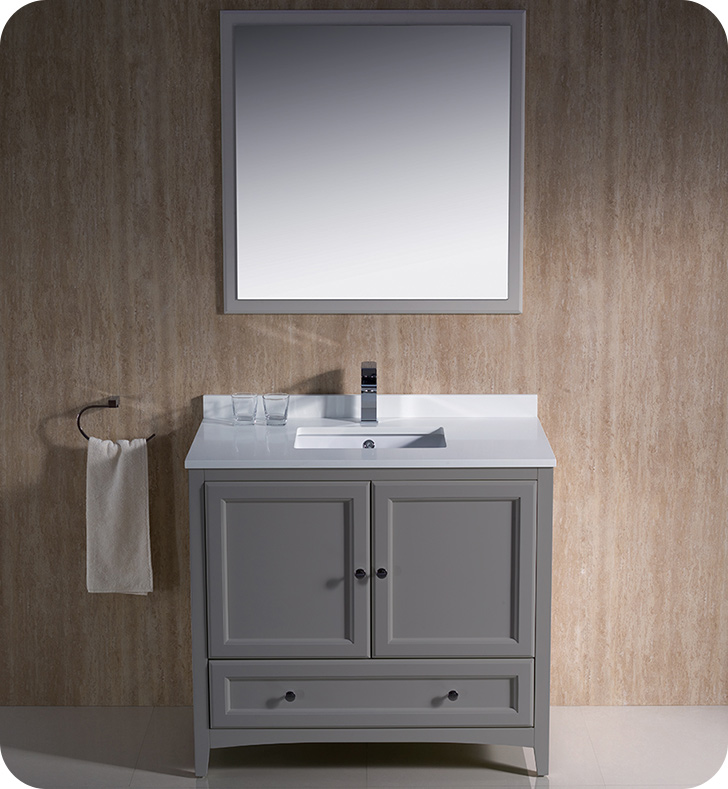 "Fresca Oxford Collection 36"" Grey Traditional Bathroom Vanity with Top, Sink, Faucet and Linen Cabinet Option"