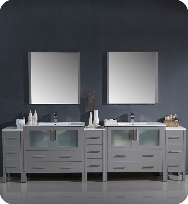 "Fresca Torino 108"" Modern Double Sink Bathroom Vanity with Color, Faucet, Linen Side Cabinet and Vessel Sink Option"