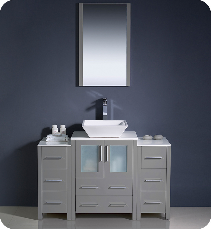 "48"" Modern Bathroom Vanity Vessel Sink with Color, Faucet and Linen Side Cabinet Option"
