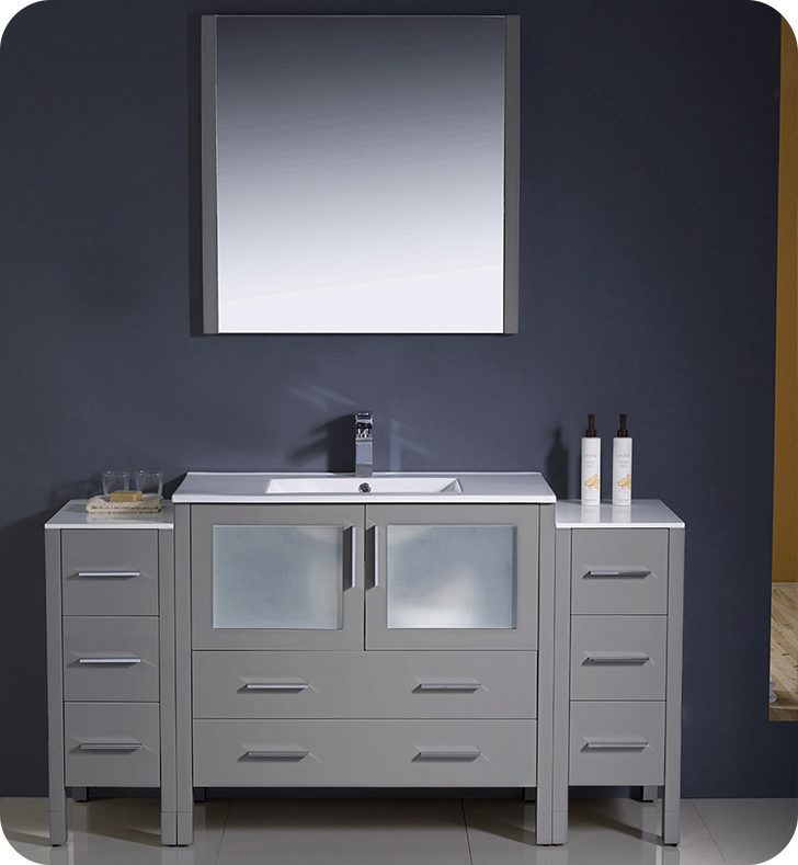 "Fresca Torino 60"" Modern Bathroom Vanity with Color, Faucet, Linen Side Cabinet and Vessel Sink Option"