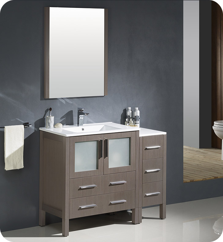 "42"" Gray Oak Modern Double Sink Bathroom Vanity with Faucet and Linen Side Cabinet Option"