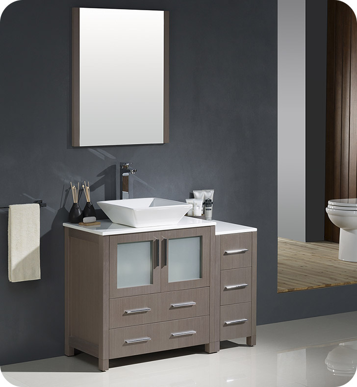 "Fresca Torino 42"" Gray Oak Modern Bathroom Vanity Vessel Sink with Faucet and Linen Side Cabinet Option"